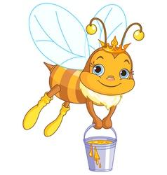 Bee holding a honey bucket vector image