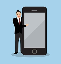 Businessman pointing to the screen of a smartphone vector image vector image