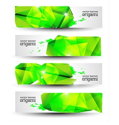 Geometrical origami banner set vector