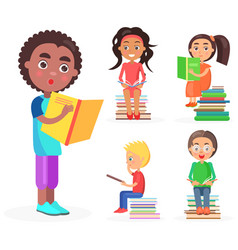 open-eyed african boy reads book reading kids vector image vector image