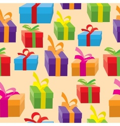 Seamless background of gift boxes vector image vector image
