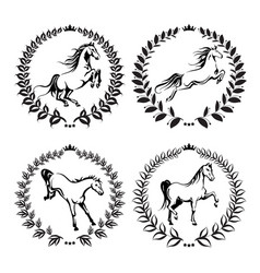 set with labels of horses vector image