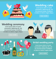 wedding party banner horizontal set flat style vector image