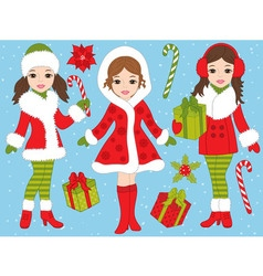 Christmas Girls Set vector image vector image