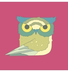 Hand drawn flat square icon owl isolated on purple vector image vector image