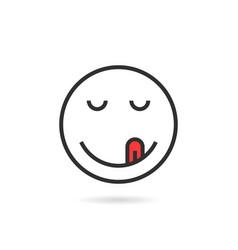 satisfied thin line emoji icon with shadow vector image