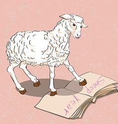 sheep reading a book vector image vector image