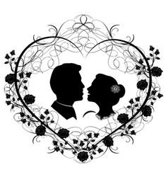 wedding silhouette 12 vector image