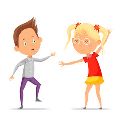 children dancing or cartoon boy with girl moving vector image vector image