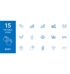 15 baby icons vector