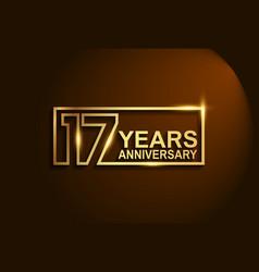 17 years anniversary golden design line style vector