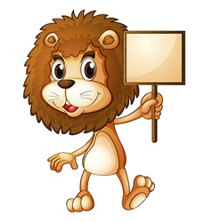 A lion holding an empty sign board vector