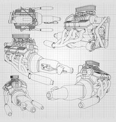a set several types powerful car engine the vector image