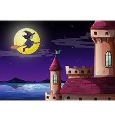 A witch going to the castle vector image