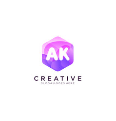 Ak initial logo with colorful hexagon modern vector