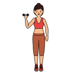 athlete woman doing exercise weight lifting vector image