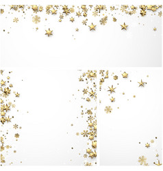 backgrounds with gold stars and snowflakes vector image