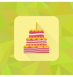Birthday cake sign icon on polygonal triangle vector