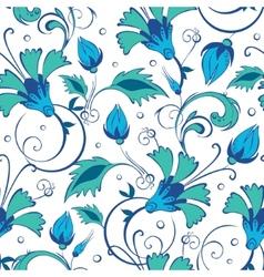 blue green swirly flowers seamless pattern vector image