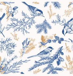 blue seamless pattern with birds vector image