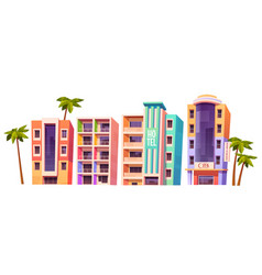 Buildings modern hotels in miami at summer time vector