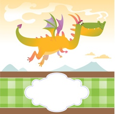 Card With Fly Dragon and Mountains vector image