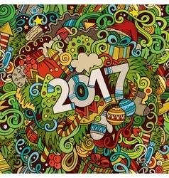 Cartoon cute doodles hand drawn New Year vector