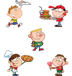 Cartoon pizza boy vector