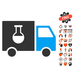 Chemical delivery truck icon with dating bonus vector