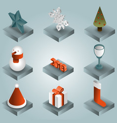 christmas gradient isometric icons vector image