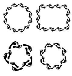 Circle footprint frames set vector
