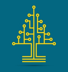 Circuit board pattern in the shape of the tree vector image