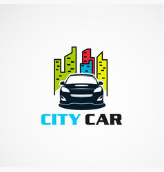 City car with modern touch logo icon element and vector