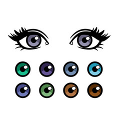 Color contact lenses poster with female eyes vector