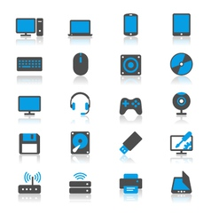 Computer flat with reflection icons vector image