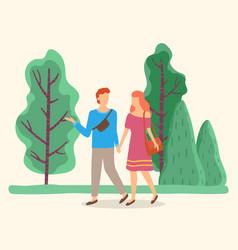 Couple holding hands walking in summer park vector
