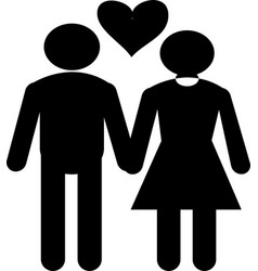 couple love friendship icon black couple love vector image