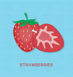 creative strawberry fruits and strawberries half vector image
