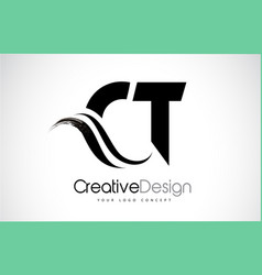 Ct c t creative brush black letters design with vector