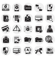 cyber security icons set on circles background for vector image