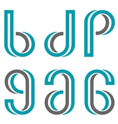Decorative letters b d p g a numbers 6 9 vector