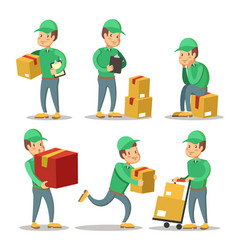 delivery service man cartoon character set vector image