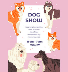 Dog show promo poster template with different dogs vector