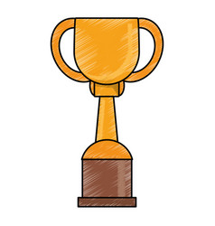 Drawing winner cup trophy prize golden vector