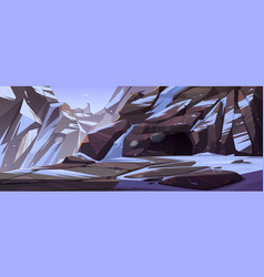 Entrance to cave in mountain with ice and snow vector