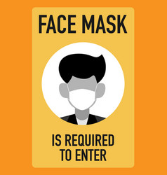 Face mask is required to enter signage design vector