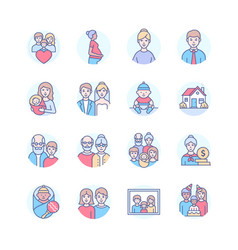 family life - modern line design style icons vector image
