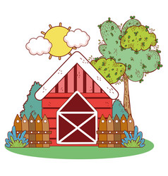 farm house with wooden fence and tree vector image