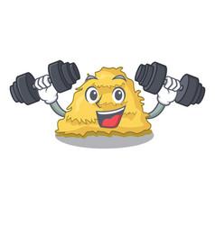 Fitness hay bale character cartoon vector
