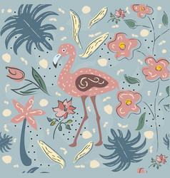 Flamingo bird seamless pattern vector